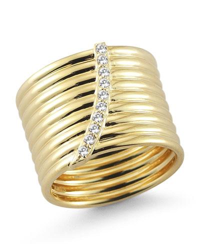 Vago Ridged Crystal Ring