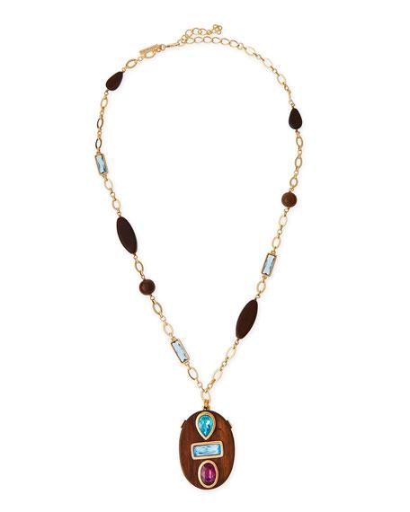 Oscar de la Renta Wooden Swarovski® Crystal Pendant