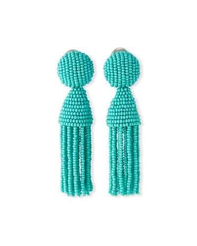 Swarovski® Crystal Tassel Clip Earrings, Turquoise