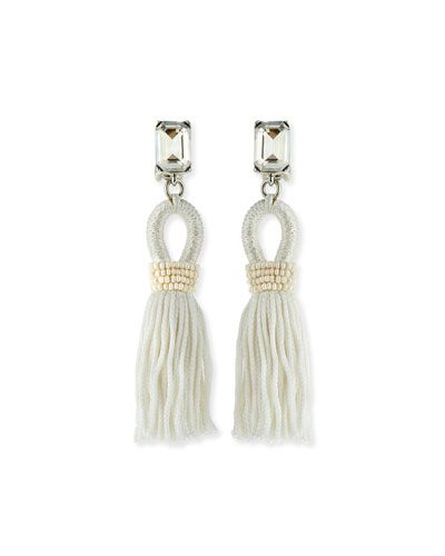 Short Swarovski® Crystal Loop Tassel Earrings