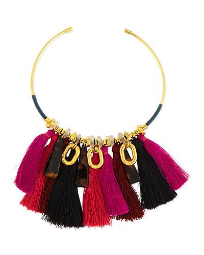 Crimson Tassel Collar Necklace, Black/Fuchsia
