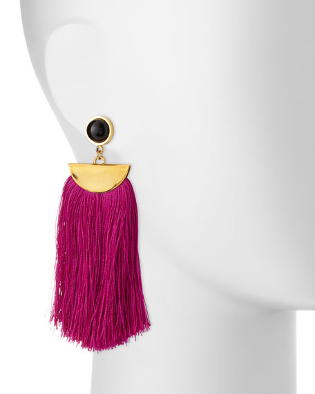 Lizzie Fortunato Parrot Tassel Drop Earrings, Fuchsia