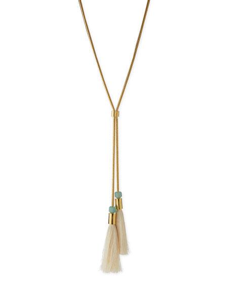 Lele Sadoughi Straw Tassel Lariat Necklace