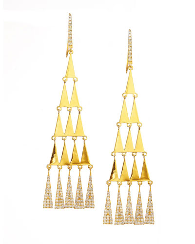 Diamond-Trimmed Triangular Chandelier Earrings