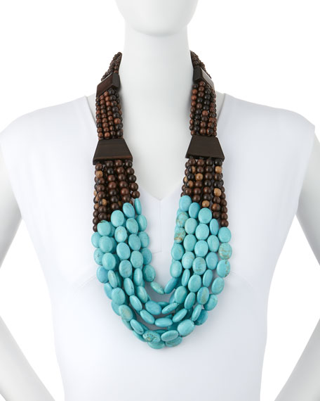 Tiger Wood & Turquoise Beaded Necklace