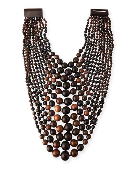 Multi-Tier Tiger Wood Bead Necklace