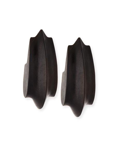 Wooden Acorn Statement Earrings, Dark Brown