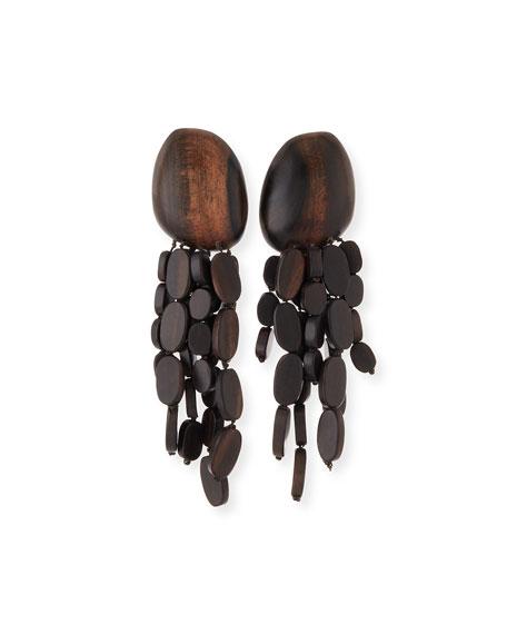 Tiered Wood Chandelier Earrings