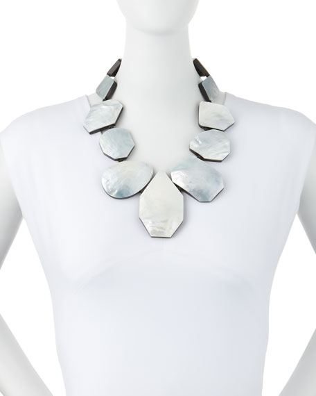 Geometric Mother-of-Pearl Collar Necklace