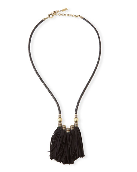 Auden Topanga Leather Fringe Necklace