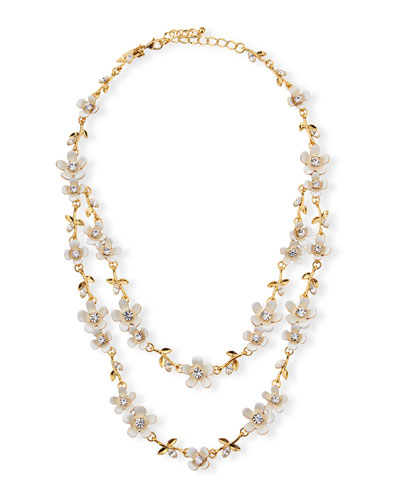 pretty petals two-strand necklace, white