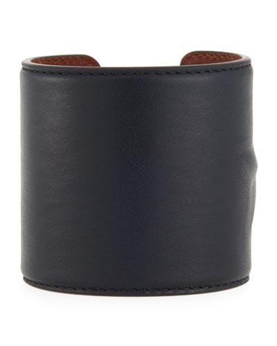 Star Leather Cuff Bracelet, Black