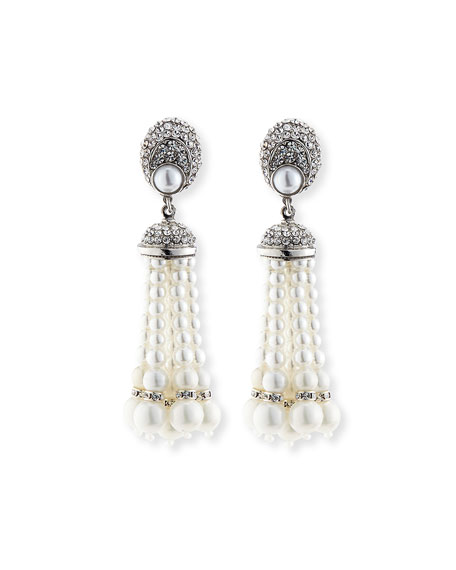 Jose & Maria Barrera Pearly Tassel Drop Clip