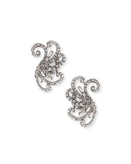 Jose & Maria Barrera Swirled Crystal Clip-On Earrings