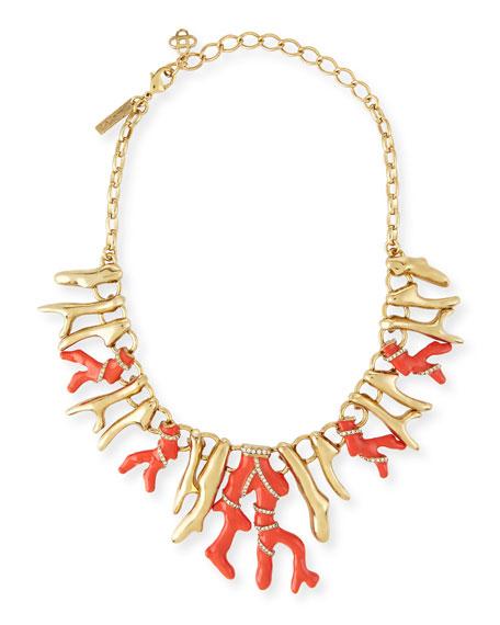 Oscar de la Renta Coral Bib Necklace, Persimmon