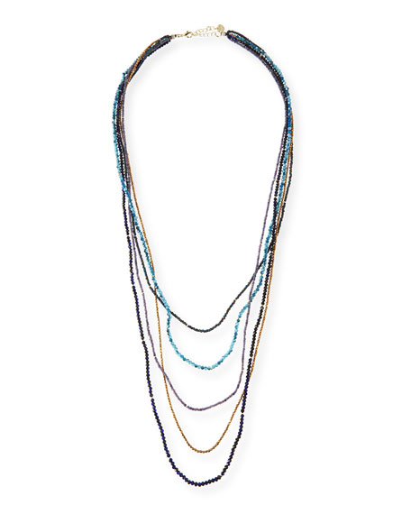 Nakamol Five-Strand Crystal Necklace, Blue Mix