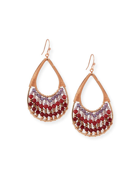 Nakamol Crystal Wire Teardrop Earrings, Red/Purple
