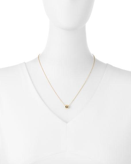18K Yellow Gold Mini Pois Mois Cube Necklace