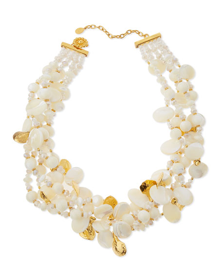 Chunky Mother-of-Pearl & Crystal Multi-Strand Necklace