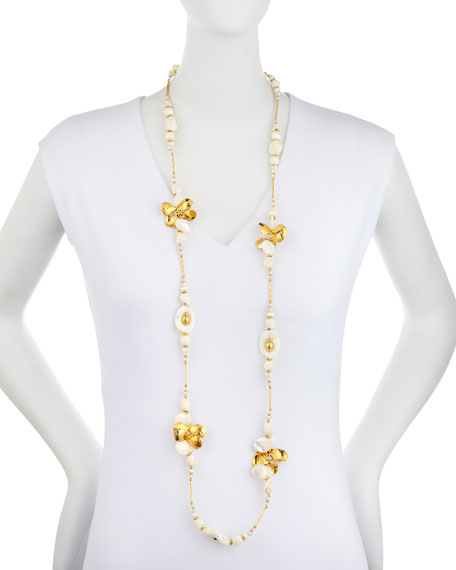 Long Golden Mother-of-Pearl & Crystal Beaded Necklace, 49""