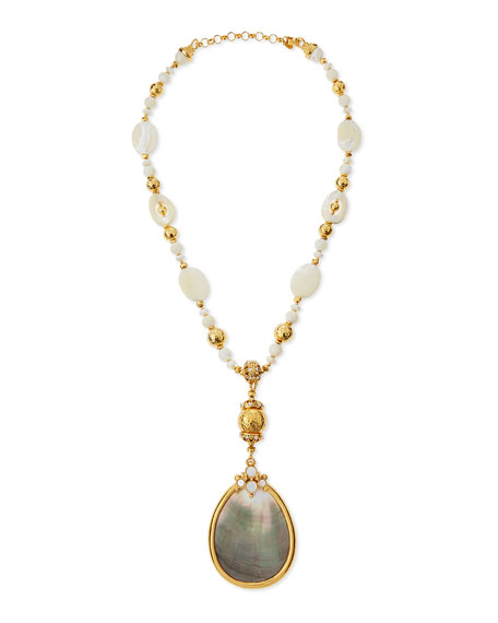 Golden Mother-of-Pearl Statement-Pendant Necklace