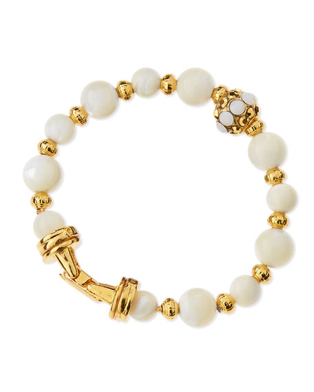 Jose & Maria Barrera Golden Mother-of-Pearl Beaded Bracelet