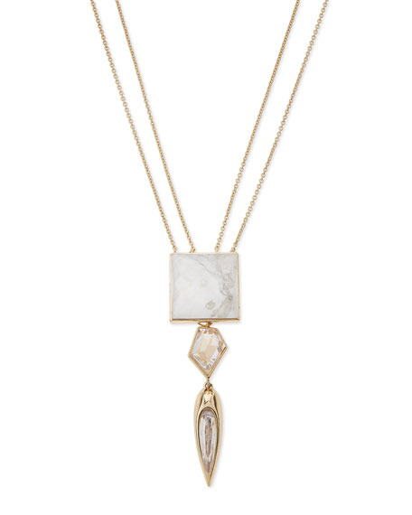 Alexis Bittar Long Multi-Drop Crystal Pendant Necklace, 32