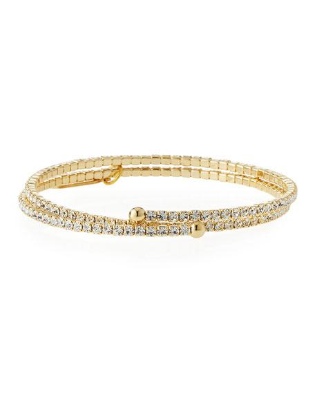 Lisa Freede Crystal Double-Wrap Golden Bracelet
