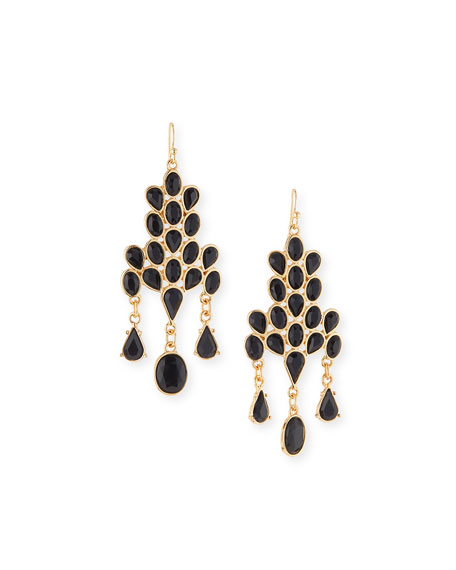 Jules Smith Cabochon Drop Earrings, Black/Gold
