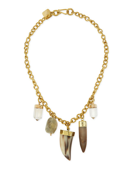 Ashley Pittman Agua Mixed Charm Horn Necklace