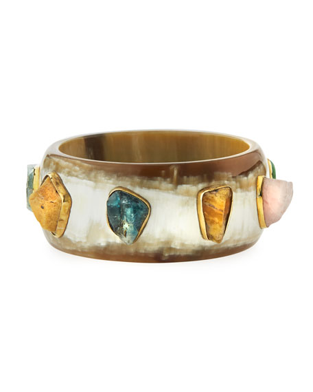 Furahi Bangle Bracelet, Light Horn