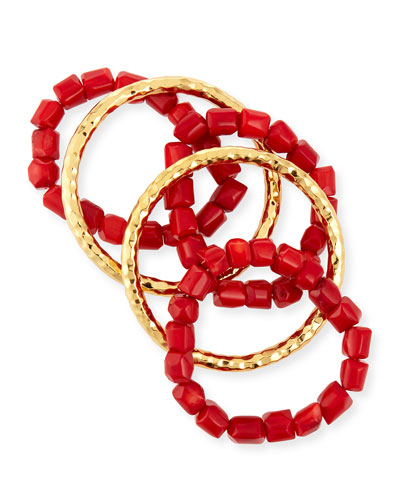 22K Gold & Coral Bead Stacking Bracelets Set