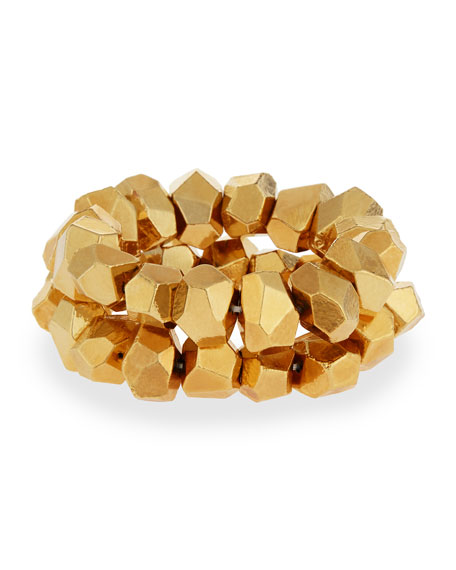 22K Gold-Plated Nugget Stretch Bracelet