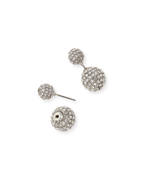 Round Pave Double-Stud Earrings, Silvertone