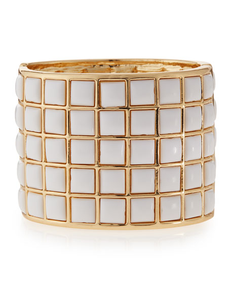 Kenneth Jay Lane White-Square Cuff Bracelet