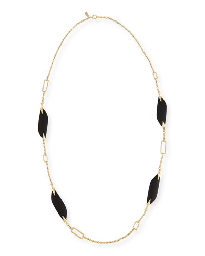 Reversible Liquid Link Station Necklace in Black, 42