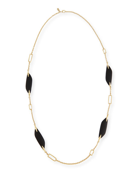 Alexis Bittar Reversible Liquid Link Station Necklace in Black, 42