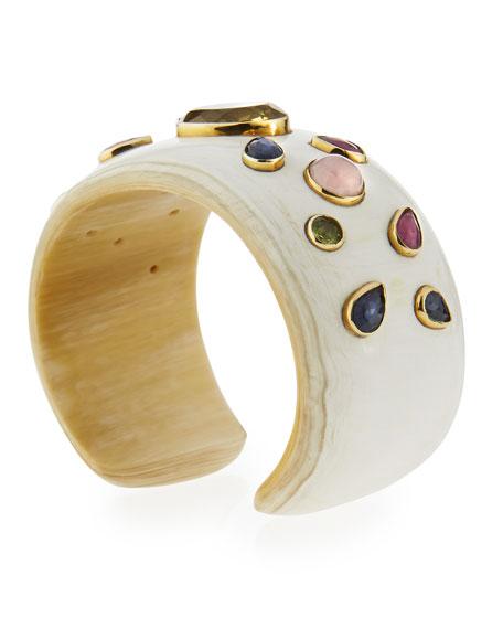 Ungana Mixed Stone Cuff Bracelet, Light Horn