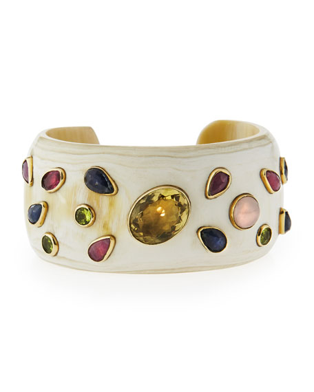 Ungana Mixed Stone Cuff Bracelet, Light Horn
