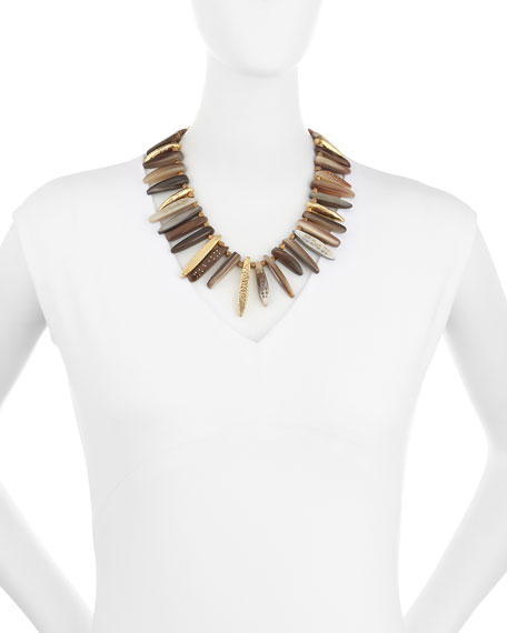 Nyasi Horn Collar Necklace, Brone