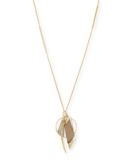 Alexis Bittar Multi-Charm Pendant Necklace, Warm Gray