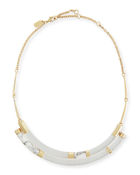 Alexis Bittar Colorblock Crescent Howlite Bib Necklace, Silver