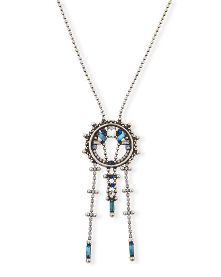 Dannijo Antonella Long Crystal Necklace, Blue/Multi