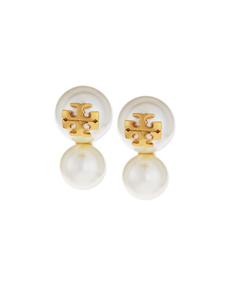 Tory Burch Logo Stud Pearly Double-Drop Earrings