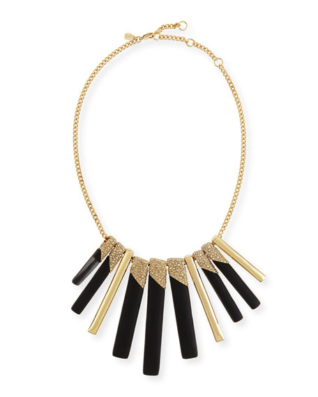 Alexis Bittar Tapered Stick Bib Necklace, Black