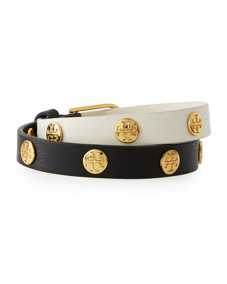 Tory Burch Colorblock Leather Logo-Stud Wrap Bracelet, Black/New