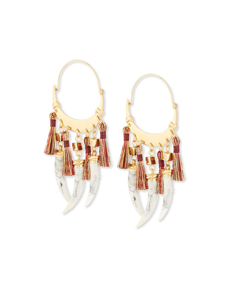 Tory Burch Dangling-Horn Hoop Earrings