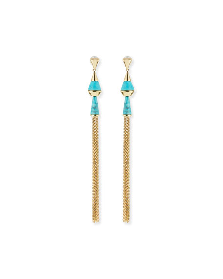 Dangling Tassel Turquoise Howlite Earrings