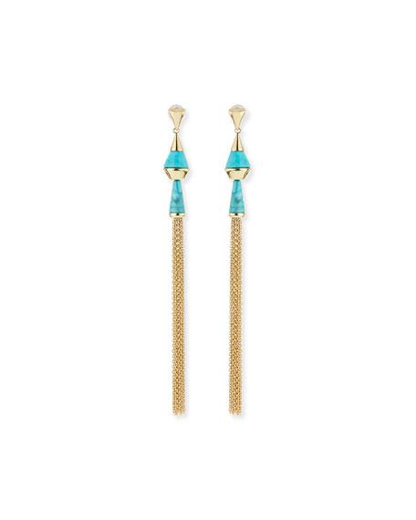 Dangling Tassel Turquoise Howlite Earrings