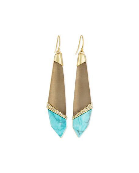 Alexis Bittar Crystal Elongated Wire Earrings, Warm Gray